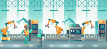 Computer Numerical Control Technologies On Modern Plant Production, Loading Line Cartoon Vector Concept. Technician Or Engineer With Tablet Controlling, Programing Robotized Conveyor Illustration