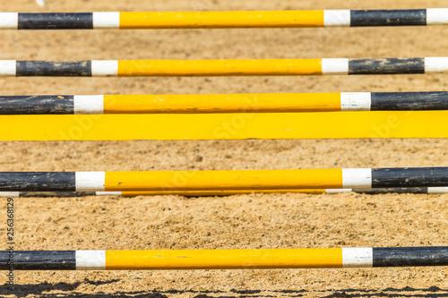 Fotografía  Equestrian Show Jumping Outdoor Arena Closeup Poles