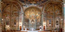 Lecce, Puglia, Italy - Inside Interior Of The Church Parish Of St. Anthony Of Fulgentius (Chiesa Sant Antonio A Fulgenzio). Amazing Beautiful Painted Ceiling