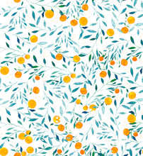 Watercolor Oranges Seamless Pattern