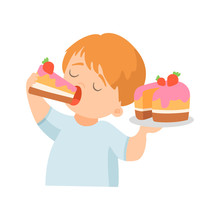Cute Little Boy Eating Creamy Cake With Strawberry Vector Illustration