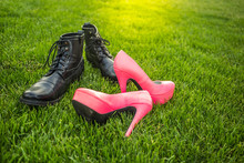 Man And Woman Shoes On Green Grass, Spring Is Coming Concept. Dating