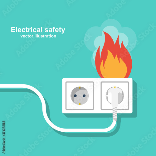 Fire wiring. Socket and plug on fire from overload. Electrical safety concept. Vector illustration flat design. Isolated on background. Short circuit electrical circuit. Broken electrical connection.
