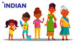 Indian Generation Female Set People Person Vector. Indian Mother, Daughter, Granddaughter, Baby. Isolated Illustration