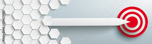 Hexagons Structure Arrow Red Target Header Wallpaper Mural