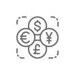 Currency exchange, foreign money, coin of dollar, euro, yen, pound line icon.