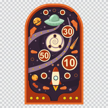 Retro Pinball Machine With Space Game. Vector Cartoon Illustration Isolated On A Transparent Background.
