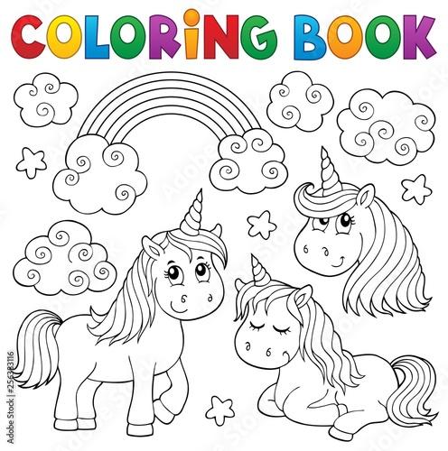 Deurstickers Voor kinderen Coloring book cute unicorns 1