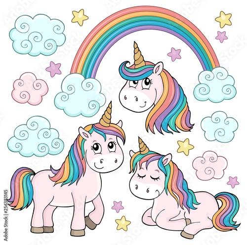 Foto op Canvas Voor kinderen Cute unicorns topic set 1