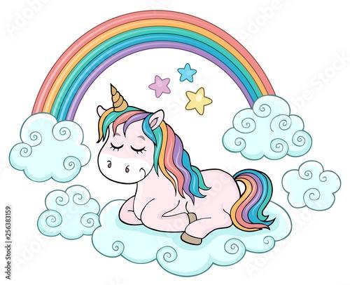 Foto op Canvas Voor kinderen Cute unicorn topic image 1