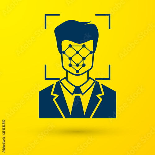 Photo  Blue Face recognition icon isolated on yellow background