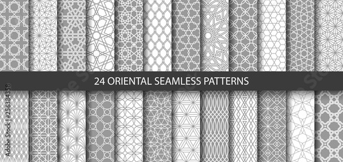 Big set of 24 vector ornamental seamless patterns Canvas Print