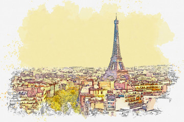 Panel Szklany 3D Watercolor sketch or illustration of a beautiful view of Paris in France. Cityscape or urban skyline