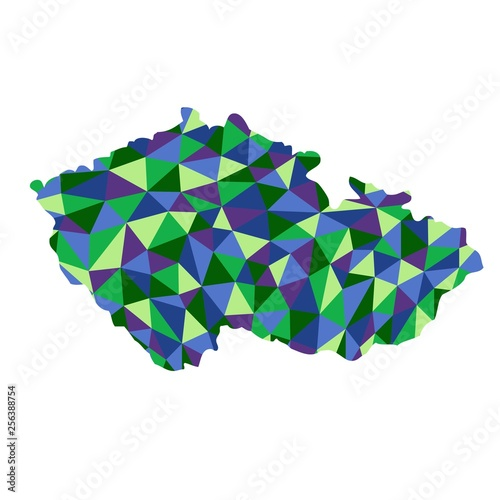 Photo  Czech republic isolated polygonal map low poly style blue and green colors