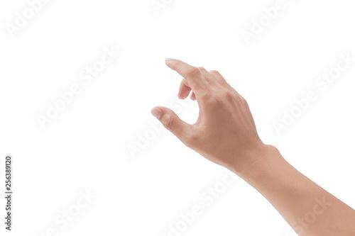 man hand touching something on white background Fototapeta