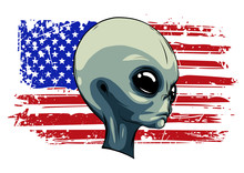 Alien Extraterrestrial Green Face With American Flag