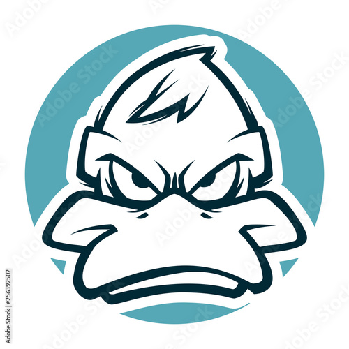 Fotografie, Tablou  angry duck head black and white illustration mascot esports logo