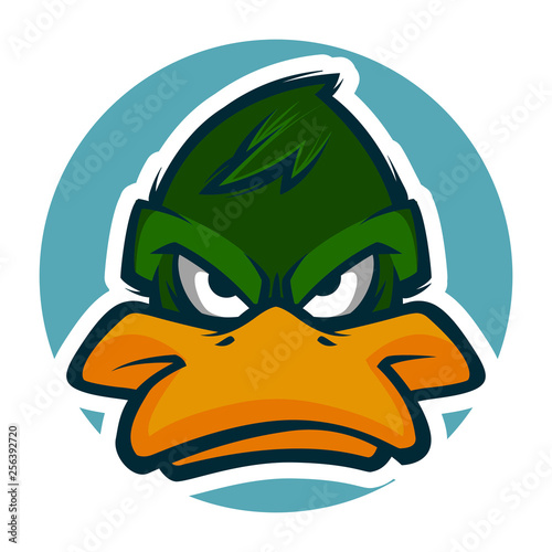 angry duck head illustration mascot esports logo Fototapeta