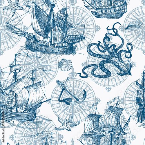 In de dag Schip Old caravel, vintage sailboat, sea monster. Vector seamless pattern