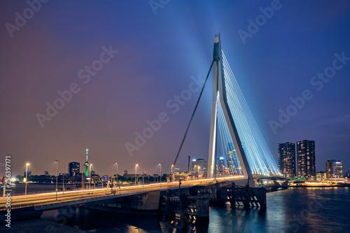 Foto auf Acrylglas Schwan Erasmus Bridge, Rotterdam, Netherlands