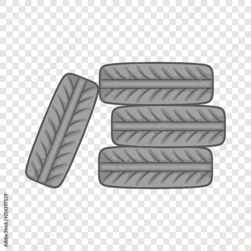 La pose en embrasure Cartoon voitures Pile of black tires icon in cartoon style on a background for any web design