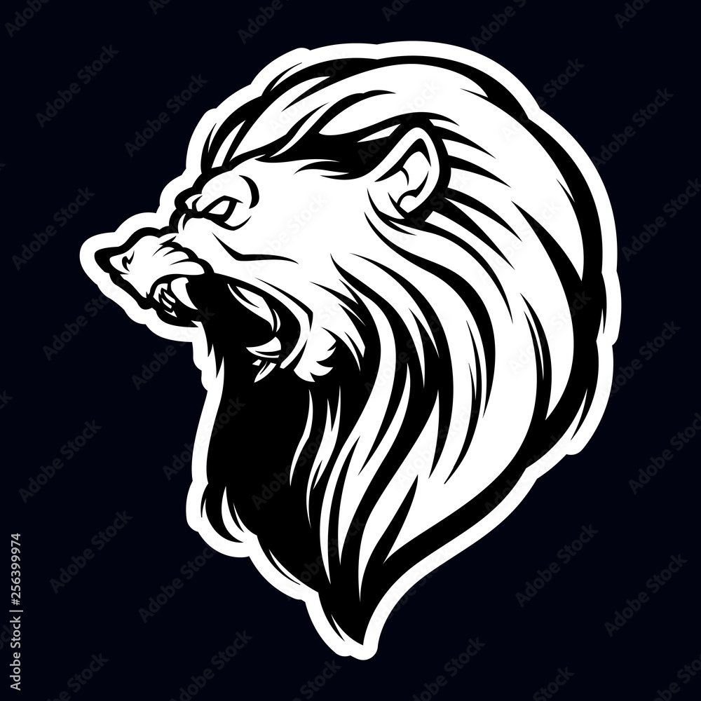 lion head black and white mascot logo illustration