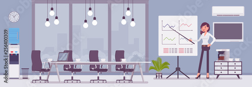Obraz Meeting room in a business center office and female manager. Modern conference hall, preparation for formal event, corporate consultation or employee discussion. Vector flat style cartoon illustration - fototapety do salonu