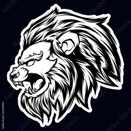 Fototapety, obrazy: lion head black and white mascot logo illustration