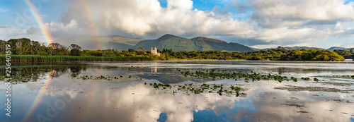 Poster de jardin Taupe Killarney lakes and Ross Castle scenic rainbow panorama landscape