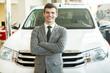 Professional car salesman at work