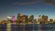 Timelapse of twilights in downtown of Boston, USA. Boats in the Boston Bay