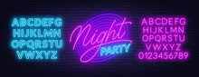 Neon Lettering Night Party On ...