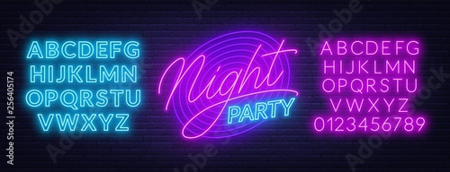 Neon lettering Night party on brick wall background Wallpaper Mural