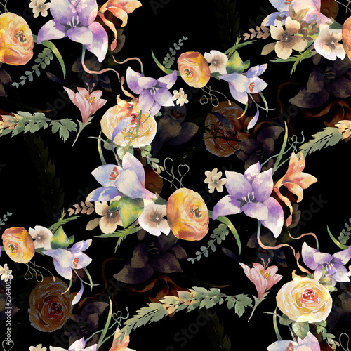 Fototapety, obrazy: Watercolor painting of leaf and flowers, seamless pattern on dark background