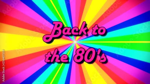 The text Back to the 80s, fancy font, on a rainbow pinwheel, rays of