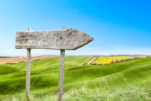 Spring Background Of Wooden Desk And Tuscany Landscape
