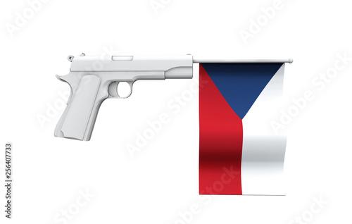 Photo  Czech Republic gun control concept. Hand gun with national flag