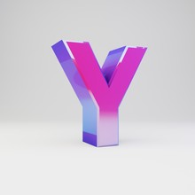 3d Letter Y Uppercase. Rendered Multicolor Metal Font With Glossy Reflections And Shadow Isolated On White Background.