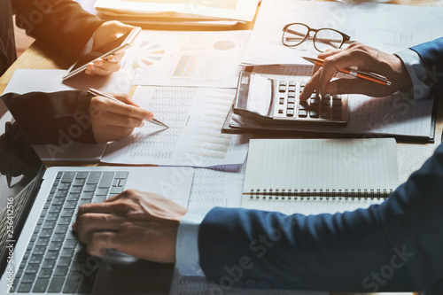teamwork business woman accounting concept financial in office Canvas Print