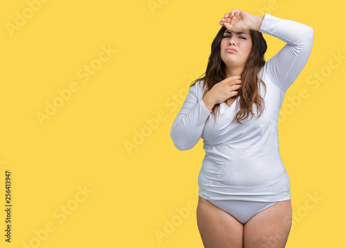 Photo  Beautiful plus size young overwight woman wearing white underwear over isolated