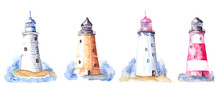 Hand Drawn Watercolor Lighthouse Set, Isolated Lighthouses Objects With Blue Water On White Background,  Nautical Objects, And Colors Illustration