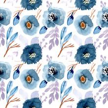 Blue Brown Gray Floral Waterco...