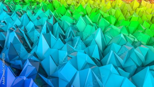 Foto op Aluminium ZigZag abstract three-dimensional plane of iridescent color. 3d render