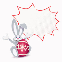 Cute Easter Bunny With Red Ornamented Egg And Blank Comic Speech Bubble Isolated On A White Background
