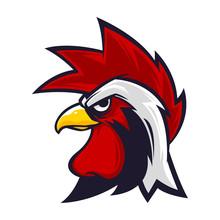 Rooster Head Mascot Logo Vecto...