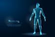 Human Body 3D Polygonal Wireframe Blueprint. Vector Illustration
