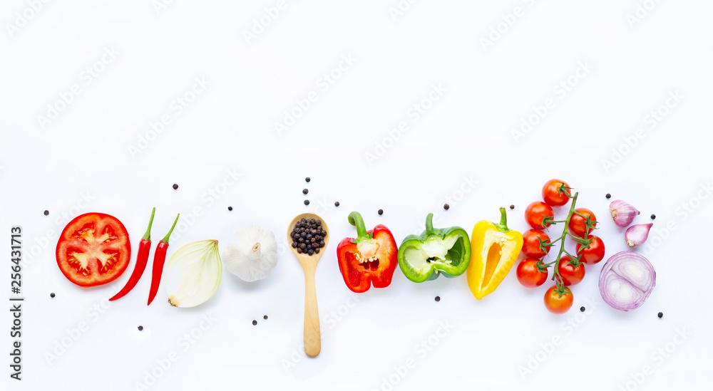 Fototapety, obrazy: Various fresh vegetables and herbs on white. Healthy eating concept