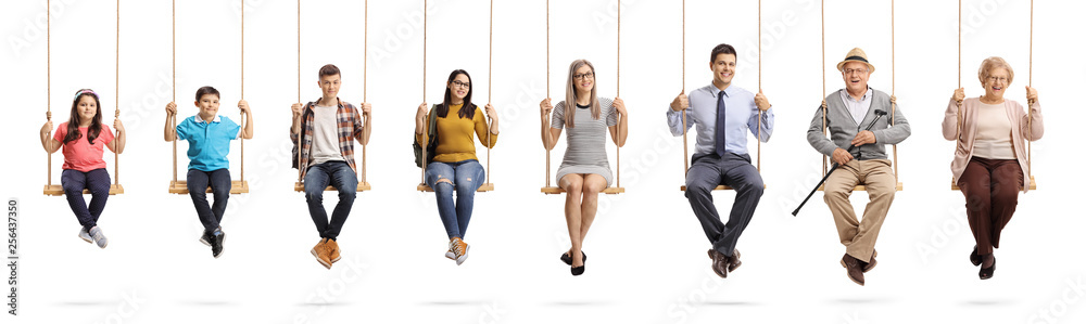 Children, young people and seniors sitting om swings and smiling