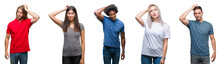 Composition Of African American, Hispanic And Caucasian Group Of People Over Isolated White Background Confuse And Wonder About Question. Uncertain With Doubt, Thinking With Hand On Head