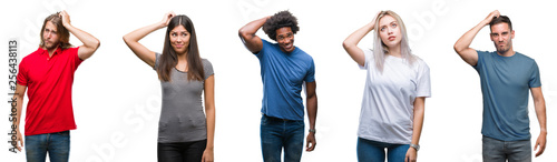 Fototapeta Composition of african american, hispanic and caucasian group of people over isolated white background confuse and wonder about question